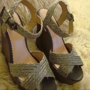 Shoedazzle Madison Brown wedges in size 7